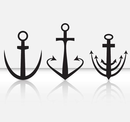 ship anchor: Set of anchor. Ship anchor for boat, vintage anchor, vector illustration