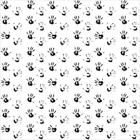 hand print: Seamless pattern hand print black. Child hand print and kids hand print, vector illustration