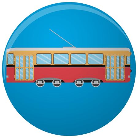 tramway: Tram icon flat. Vintage tramway side. Vector illustration Illustration