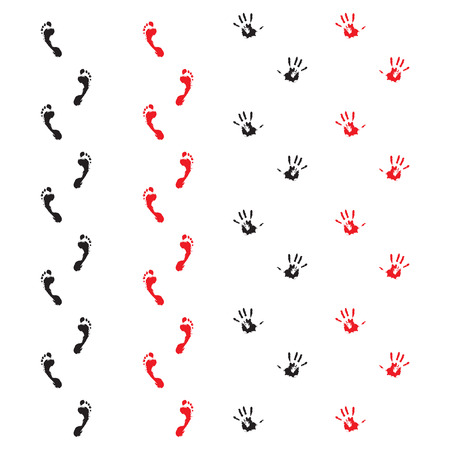 bloody hand print: Traces of hands and feet. Handprint and foot print. Vector illustration