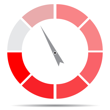 Indicator round red with pointer needle. Index and pointer, arrow indicator, measurement spectrum and power panel. Vector illustration Illustration