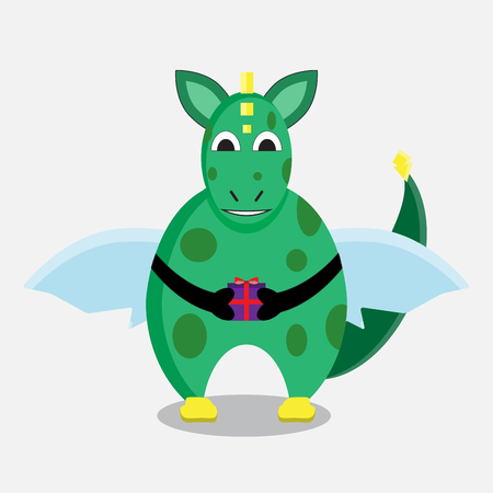Green dragon with a gift. Dragon vector illustration