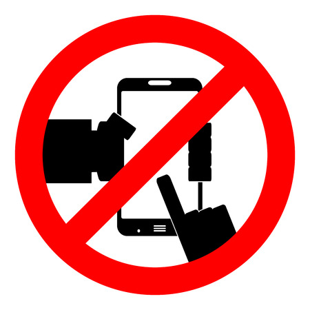 Ban use smart phone. Not to play phone, do not use the phone. Vector illustration