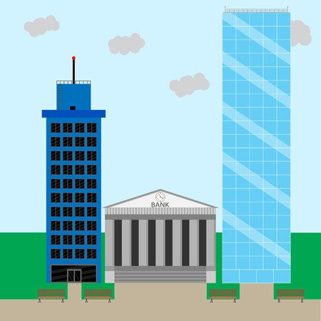 financial district: Financial business district. Office building cityscape and skyscraper. Vector illustration