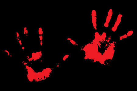 bloody hand print: Bloody handprints on black. Print of human palm. Vector illustration Illustration