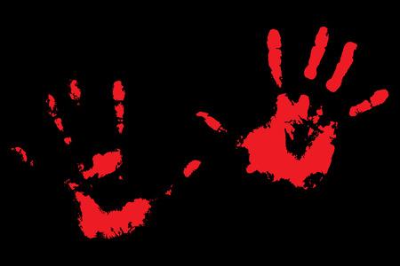 Bloody handprints on black. Print of human palm. Vector illustration Illustration