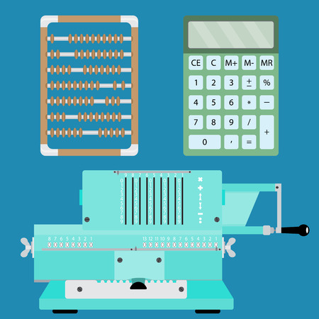 arithmetical: Collection of calculators. Adding machine, calculator and abacus. Vector illustration Illustration
