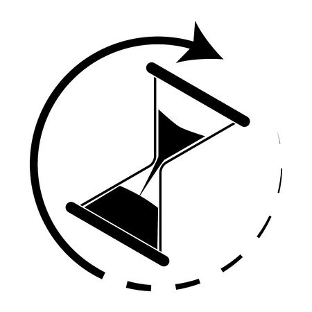 Time is running. Hourglass monochrome. Hourglass icon and time running out. Vector illustration  イラスト・ベクター素材