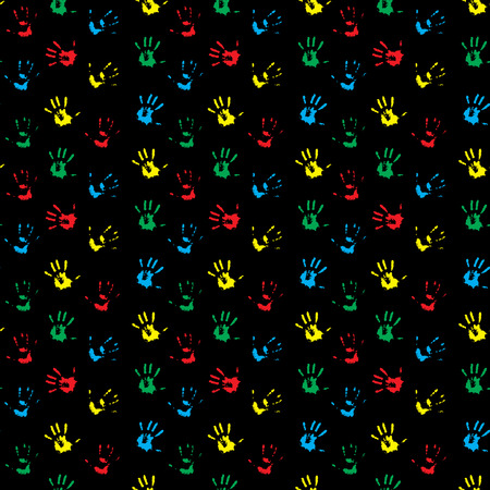 hand print: Seamless pattern hand print colored. Child hand print and kids hand print. Vector illustration