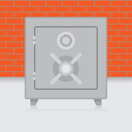 combination safe: Metal safe on brick wall background. Bank safe and combination safe, vector illustration Illustration