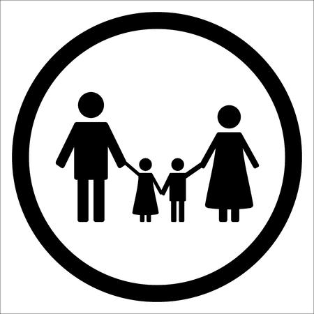 black family: Happy family black silhouette icon. Children silhouette and family icon. Vector illustration