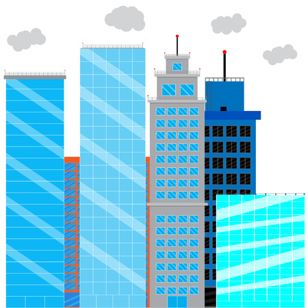 business district: Business district with glass skyscrapers. Financial district and office building, cityscape skyscraper street. Vector illustration