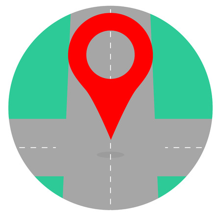 global positioning system: Gps icon pin crossroad. Map icon location and gps navigation, vector illustration Illustration