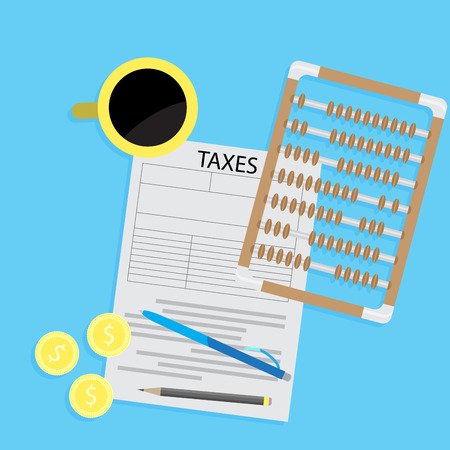 Tax day declaration flat concept. Tax form with coffee and abacus calculator. Accounting and money, taxation and taxes money Vector illustration