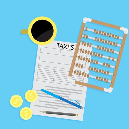 Steuer Tag Erklärung flach Konzept. Steuerformular mit Kaffee und Abakus Rechner. Buchhaltung und Geld, Steuern und Steuern Geld Vektor-Illustration