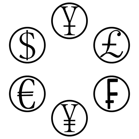 jpy: Currency basket icons. Yen and pound, yuan and eur, gbp and jpy money. Vector illustration