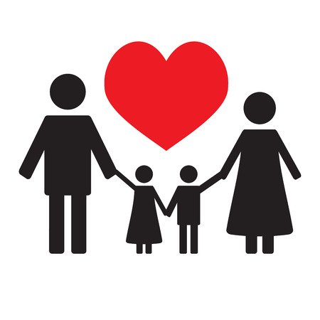 love family concept banner happy family and couple with kids