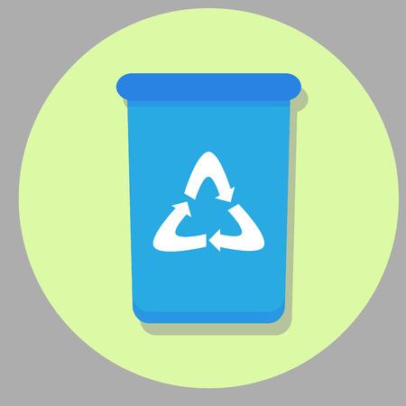 wheelie bin: Bin icon flat. Wheelie bin, recycle and trash can, box rubbish bin. Vector illustration