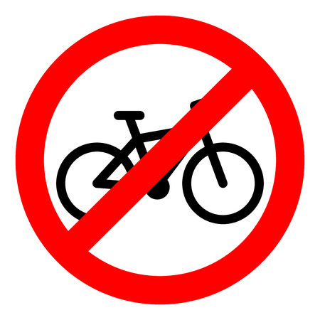 Bike ban sign. Bycicle and bike isolated. Banner prohibition, stop and forbidden, not allowed. Vector illustration