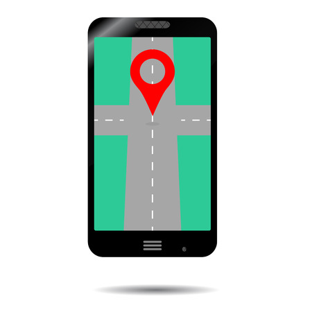 cartography: Smartphone GPS icon. App for transportation, gadget and cartography illustration