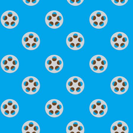 Spool reel filmstrip seamless pattern. Movie reel, cinema and slot reels, reel to reel tape. Vector illustration