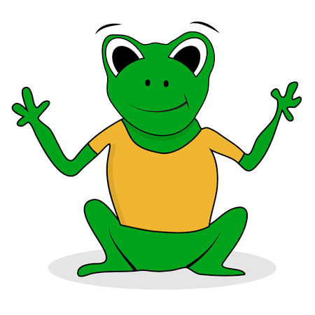 croaking: Frogling green character. Frog isolated, vector frog cartoon illustration