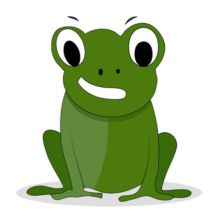 frog prince: Character green frog cartoon. Cartoon animal, frog prince and cartoon character. Vector illustration