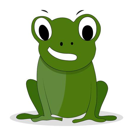 Vettoriale cartone animato di rana verde di carattere. animale del