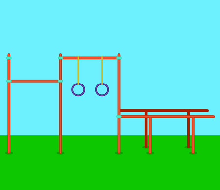 parallel: Sports horizontal bars, parallel bars, rings. Playground for street workout. Vector illustration