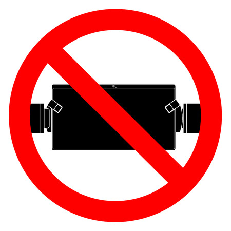 Ban play and use tablet. No playing game, prohibited app, vector illustration
