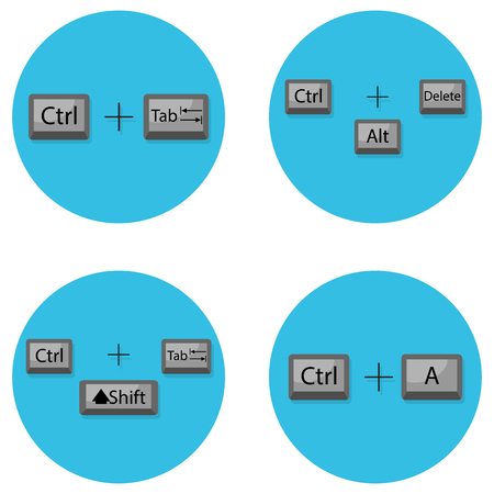conveniently: Combination of keyboard hot buttons. Command to computer shift, tab, ctrl. Vector illustration
