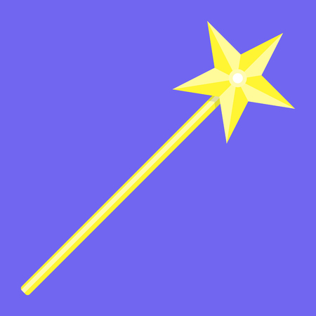 Magic wand with star. Magic wand icon, wizard and fairy wand, Vector illustration