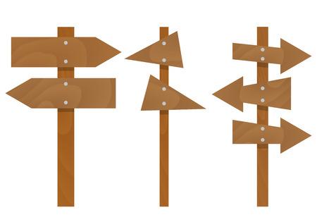 Wooden arrows signs set. Wood arrow sign, arrows vector illustration Illustration