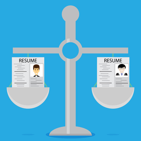Recruitment. Weighing and selection resume. Hiring and recruitment process, vector illustration Illustration