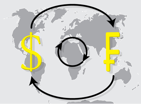 Currency exchange franc dollar on world map background. Exchange rate and money exchange, vector illustration