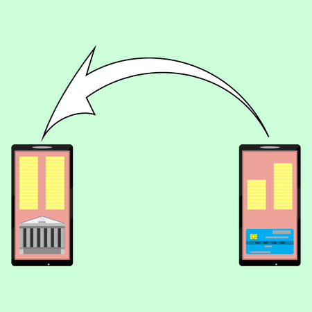technology transaction: Internet banking, e-money transfer from card to a bank account. Finance transaction technology, vector illustration