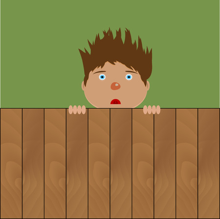 crazy hair: Crazy boy behind fence. Young male with hairstyle on wooden fence. Vector illustration