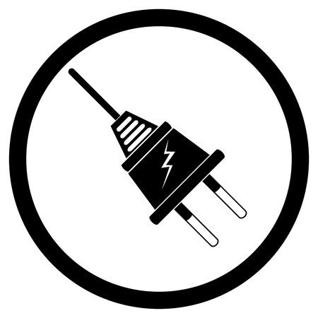 electric socket: Electric plug black silhouette. Electricity and electric socket, electrician vector illustration
