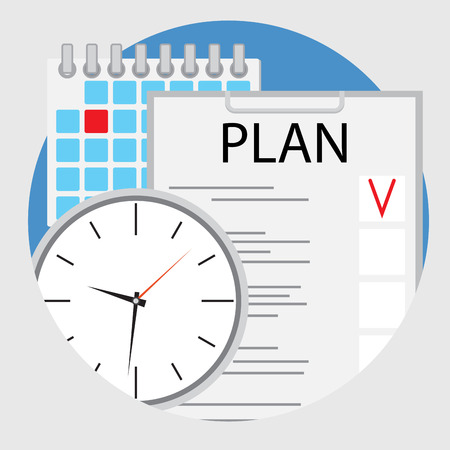 planning: Planning and organization of time flat icon vector. Plane and strategy, planning process schedule, illustration of strategic planning Illustration