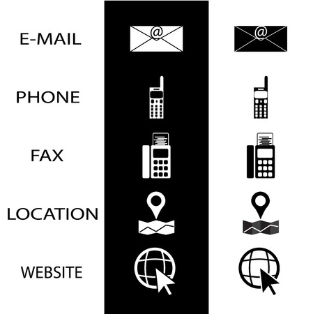 telephone icons: Icons conctact for business card phone fax and website. Contact icon, telephone for communication. Vector illustration Illustration