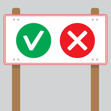 Choosing banner yes or no. Choice and selection, options and decision, decide vector illustration Illustration