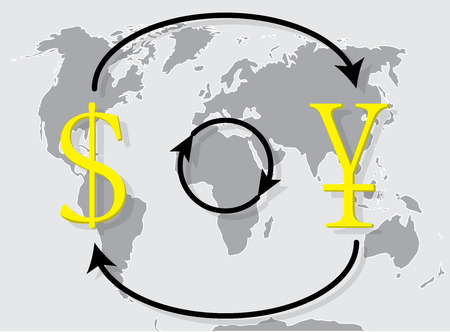 Currency exchange japanese yen dollar on world map background. Money exchange and foreign exchange, vector illustration