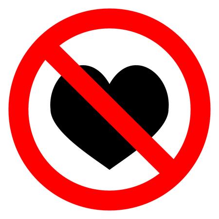 Ban Love Heart Symbol Of Forbidden And Stop Love Vector