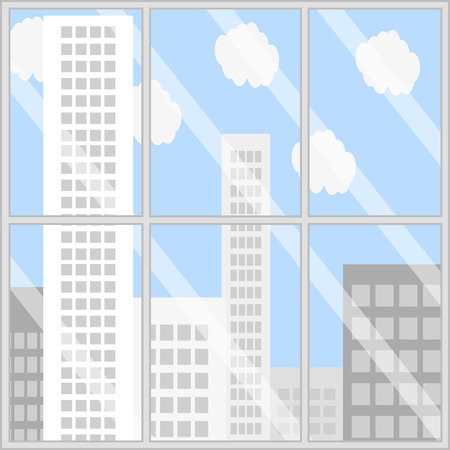 city view: Panorama business building. City view window, office window view, balcony view vector illustration