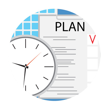 planning: Business plan icon round flat vector. Plane and strategy, planning process schedule, illustration of strategic planning Illustration