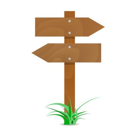 矢印の付いた木製の道標。図ブランクの看板、道路標識の木製の方向ベクトル矢印