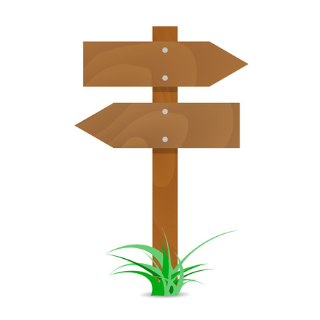 Wooden signpost with arrows. Illustration blank billboard, wooden directional vector arrow for road sign
