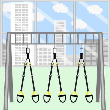 gym room: Trx gym room. Frame with hanging trx belt for stretch and training, strap to power and endurance. Vector illustration Illustration