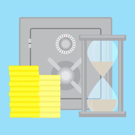 accrual: Safety deposit box. Bank vault safe and saving box, vector illustration
