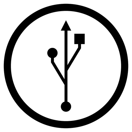 Usb icon black white. Usb port and usb drive connect technology. Vector illustration